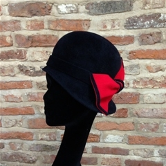 fine peachbloom fur felt assymetric hat. vintage cloche style. in midnight navy blue with contrasting red bow. a versatile statement piece, also suited for horse judging duties or show pony lead rein hat. can be made in your own colours.