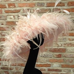 pastel pink feather brim hat by nigel rayment.