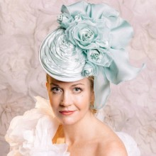 new from guibert aqua headpiece hat fascinator