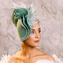 pale green headpiece new from guibert millinery