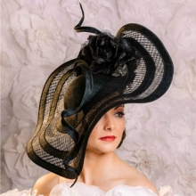 basket woven hat in black by guibert millinery