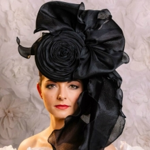 large black organza headpiece from guibert millinery