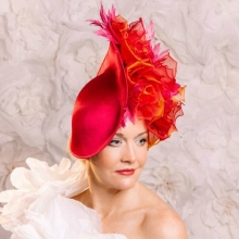 fuchsia pink wave headpiece from guibert millinery