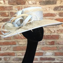 sumptuous pale blue silk crown and neutral brim with ostrich feathers by susy krakowski.