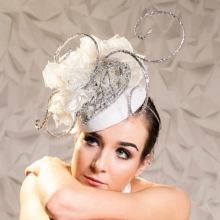 white and silver guibert headpiece