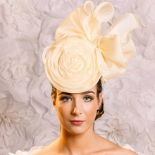yellow organza hat headpiece from guibert millinery