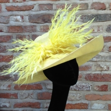 yellow medium brim hat with feathers