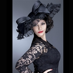 add some vintage glamour with this covetable black guibert hat with pleated crin and bow detail.