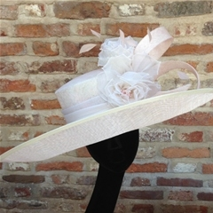 extra large upturned brim in palest pink with ivory organza band.