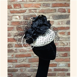 Beret Fascinator with Flower Detail in Ivory