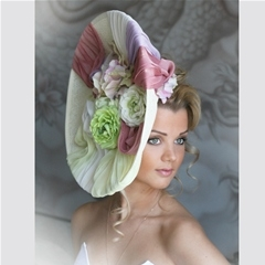 elegant vertical disc with floral trim.