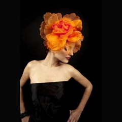 stunning chiffon and velvet flower based on an alice band.