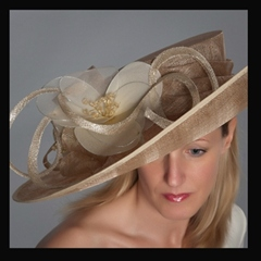 thomas watts millinery. graduated upturned to downturned brim in pearlescent gold. available in your choice of colours.