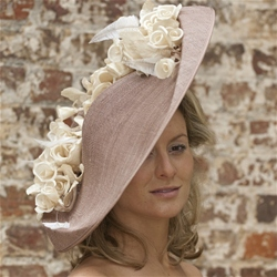 Large Brimmed Tilted Disc Hat with Rose Detail