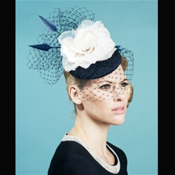 Fascinator/Headpiece with Veil in Navy by Bundle Maclaren.