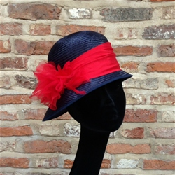 Cloche Hat in Navy Blue and Red