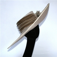 versatile large brim with silk velvet band and handmade silk and velvet rose detail.