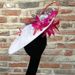 new for 2015. we adore this oyster slice with fuschia pink and red lily detail above and below the brim.