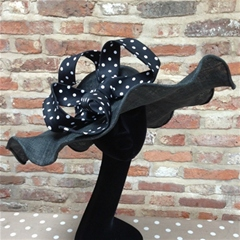 stunning black vintage style polka dot hat by guibert.