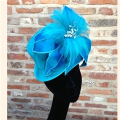 just arrived! dainty turquoise topper with dupion silk handstitched petals, hackle feathers and crystal detail. fastens on a millinery elastic. wear at a jaunty angle for maximum effect!