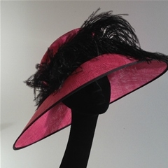 whiteley. bright pink with a contrasting black ostrich feather.