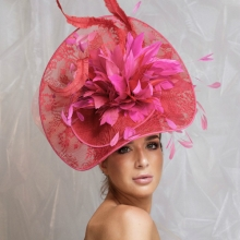bb5 guibert headpiece in fuchsia and scarlet
