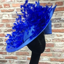 guibert tilted disc headpiece in electric blue