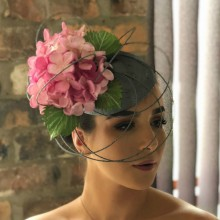metallic silver beret with painted hydrangeas