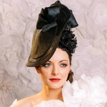 black basket woven hat. new from guibert millinery.