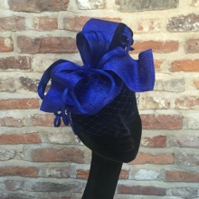 royal blue straw pillbox with veiling