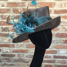brown small brim with teal trim