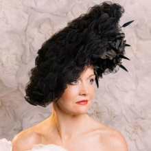 black tulle fascinator with roses