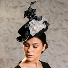 monochrome guibert victorian trilby with embossed twists and white roses.