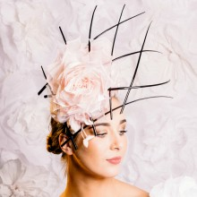 headpiece by guibert millinery in pastel pink and black