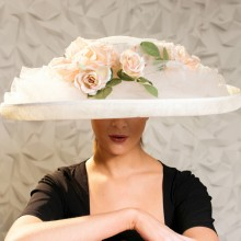 beautiful large summer sombrero, trimmed with tulle and roses. by acclaimed milliners herald & heart, famed for designing the hat worn by andi macdowell in the film four weddings and a funeral.