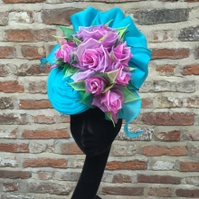 turquoise and green organza headpiece by guibert