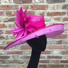 two tone east-west brimmed ladies hat