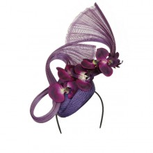 purple pillbox fascinator with climbing orchids