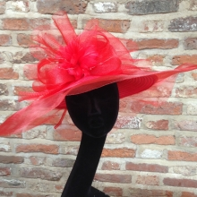 extra large brim hat in red by suzanne bettley