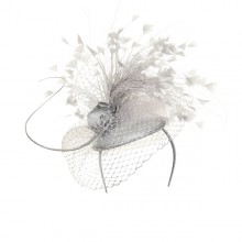 silver beret with veiling and feathers
