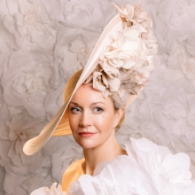large sloop with roses by guibert millinery
