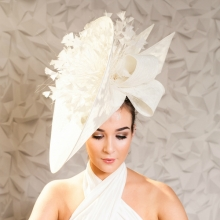 large ivory saucer by guibert millinery