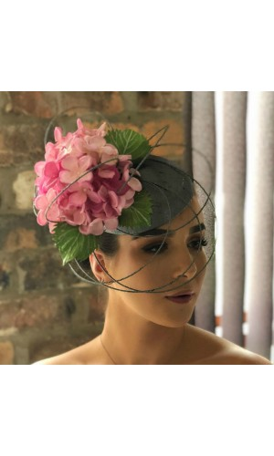 IB3 Metallic silver beret with painted hydrangeas