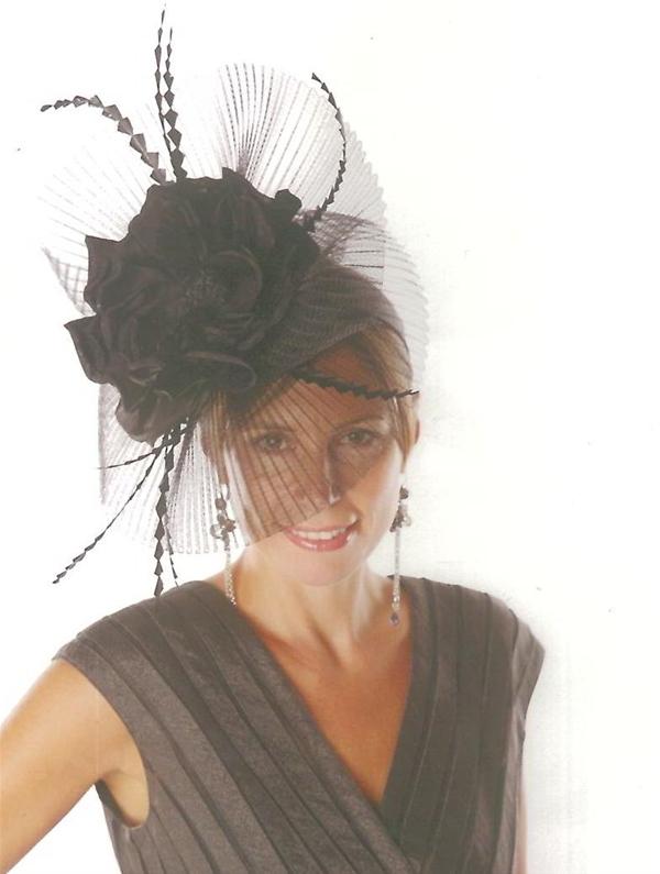 Huge Flower Hat Fascinator in Black 0cbba4aa9da