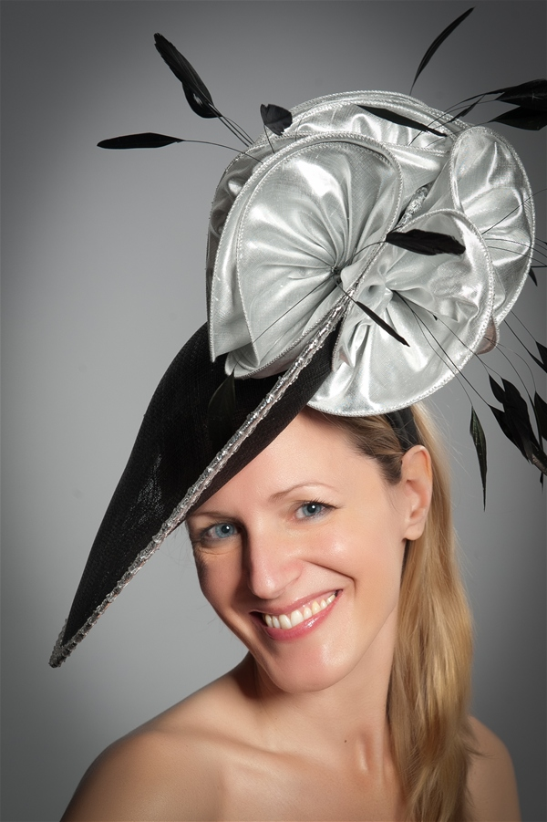 Disc Fascinator Hat with Silver Flowers 075842c4f54