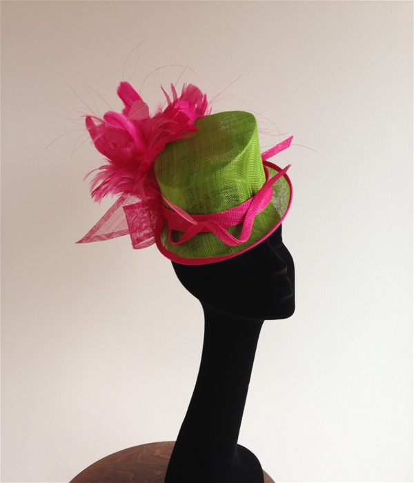 Ladies Top Hat Fascinator in Lime Green and Pink 411c9a51e30